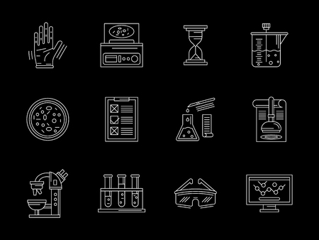 Symbols of research laboratory elements. Biochemical equipment and tools, glassware, computer program and others. Set of white flat line design vector icons on black background.