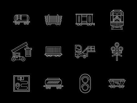 Rail freight transportation flat line icons Stock Photo