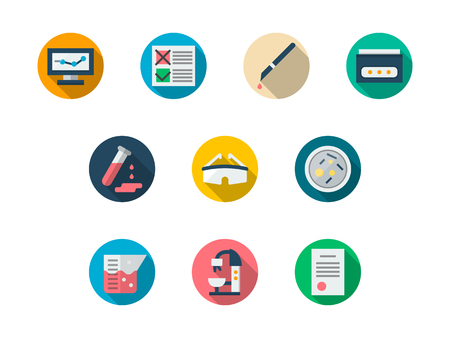 reagent: Laboratory round color vector icons set