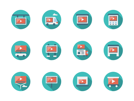 Video advertising places flat round vector icons Ilustrace
