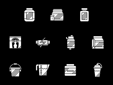 Abstract monochrome symbols for weight growth supplement. Sport and bodybuilding nutritional complex with protein, gainer, vitamins. Symbolic white glyph style vector icons set on black.