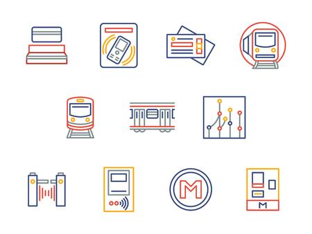Abstract Symbols Of City Underground Transport Metro And Subway