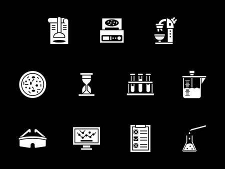 Abstract monochrome symbols for microbiology laboratory. Microscope, test tubes and flasks, reagents, computer programs and other. Symbolic white glyph style vector icons set on black.
