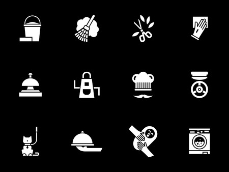 Abstract monochrome symbols for domestic services. Equipment for home cleaning, gardening, washing and cooking, treatment. House staff concept. Symbolic white glyph style vector icons set on black.