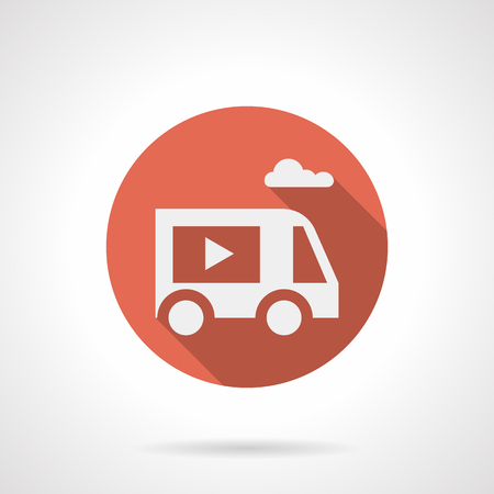 Truck with video advertising red round vector icon