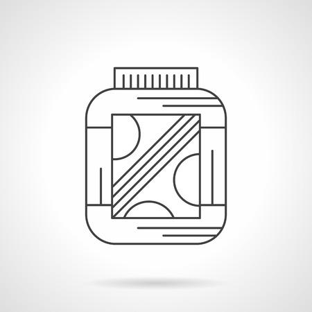 Protein Powder Jar Flat Linear Long Shadow Icon Bodybuilding