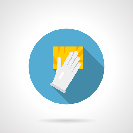 Symbol of hand in white glove holding yellow sponge. Cleaning services for home or office. Round flat design vector icon.