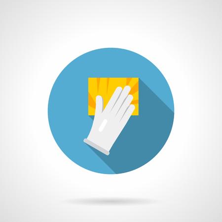 Símbolo de la mano en guante blanco con esponja amarilla. Servicios de limpieza para el hogar o la oficina. Icono de vector de diseño plano redondo. Ilustración de vector