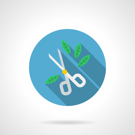 Symbol of garden scissors and green leaves. Equipment for gardener services, plant care, forming and trimming bushes. Round flat design vector icon.