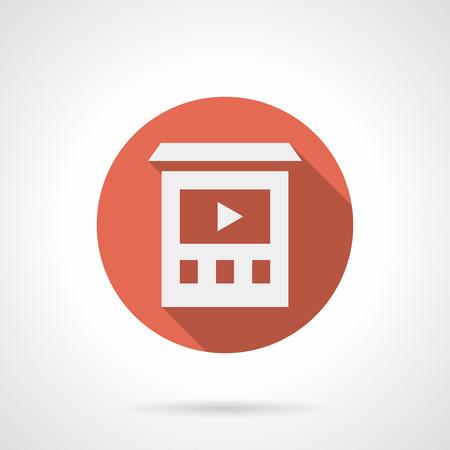 Símbolo abstracto simple silueta blanca de la construcción de pared con pantalla de video. Publicidad de videos y tecnología de marketing. Redondo, vector, rojo, icon.
