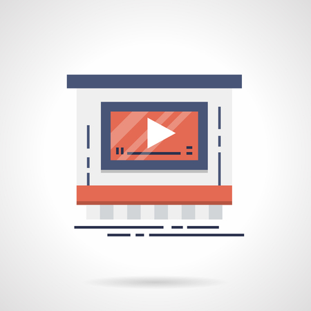 Symbol of video advertising service shop. Marketing technology concept. Flat color style vector icon.