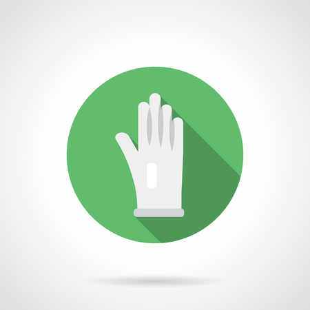 Symbol of hand in white glove. Accessories and tools for cleaning, domestic chores and others. Round flat design vector icon.