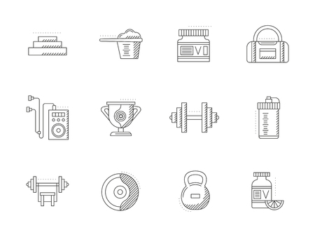 Bodybuilding and fitness flat line vector icons