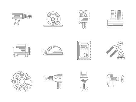 Metal processing flat line vector icons set Illustration