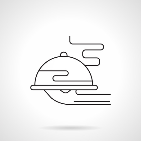Plate with dish flat line vector icon Çizim