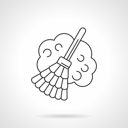 Broom with dust flat line vector icon