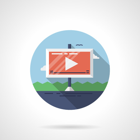 Video ads on road flat round vector icon