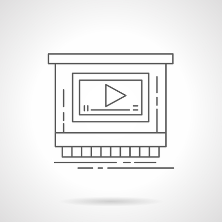 Video ads for promotion flat line vector icon