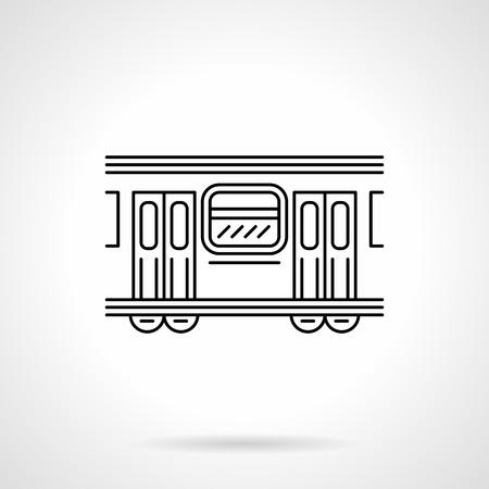 Subway wagon flat line vector icon illustration. Vectores