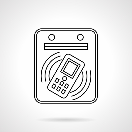 Subway payment by phone flat line vector icon illustration.