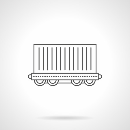 Cargo wagon flat line vector icon illustration.