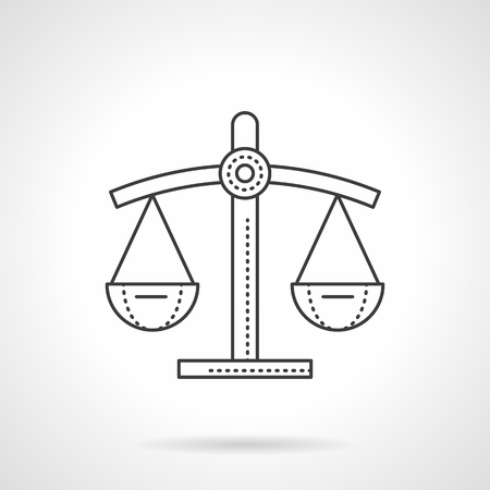Scales of justice flat line vector icon illustration. Illustration