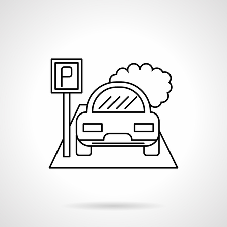 City parking lot flat line vector icon