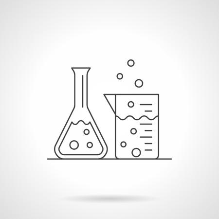 Laboratory glassware flat line vector icon