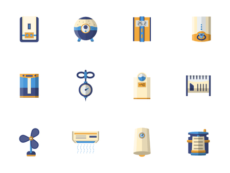 Symbols of household climatic equipment. Heating and cooling system, air humidity control. Set of flat color vector icons. Çizim