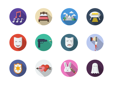 Symbols of movie genres. Musical, comedy, western and other cinema themes. Collection of round flat color vector icons. Çizim