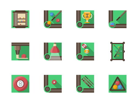 Symbols of billiards equipment. Pool table, lamp, rack, cue, balls and other accessories. Sport and leisure. Set of square green flat vector icons. Çizim