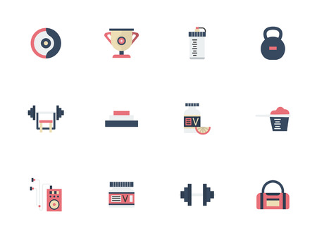 Symbols of sport and dieting. Weights, supplements and other elements for bodybuilding and healthy lifestyle. Set of flat color vector icons.