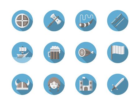 Symbols of vikings elements and objects. Shield, weapons and ship, food and beverages. Set of blue round flat color vector icons.