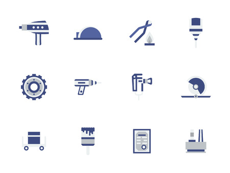 Metal processing equipment flat color vector icons
