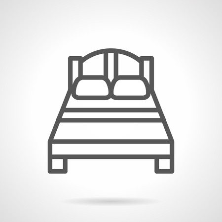 Double bed black simple line vector icon