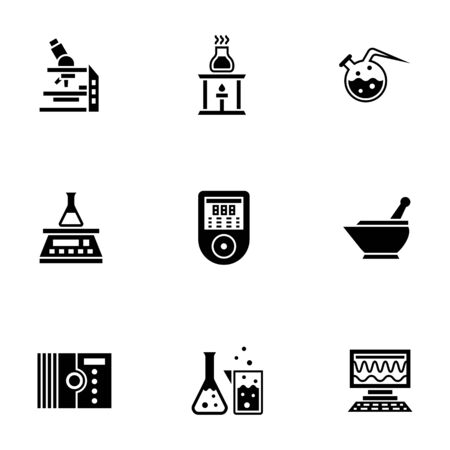 Chemical laboratory glyph style vector icons set 일러스트