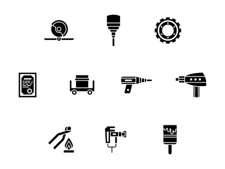 Abstrakte monochrome Symbole von Metallbearbeitungswerkzeugen. Kreissäge, Bohrbearbeitung, Schmiedeschmiede und andere Geräte. Symbolische schwarze Glyphen-Stil-Vektor-Icons gesetzt.
