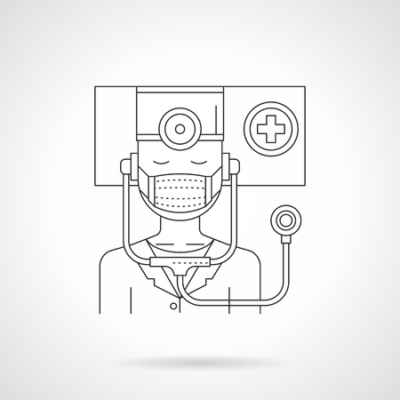 Abstract illustration of infectious disease specialist. Doctor with medical mask and stethoscope. Healthcare concept. Detailed flat line vector icon. Web design element. Çizim