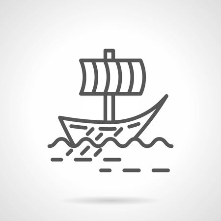 Viking sail boat simple line vector icon