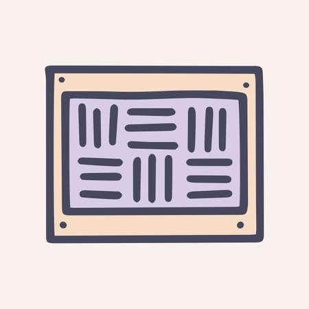 Ventilation grill color vector doodle simple icon Vetores