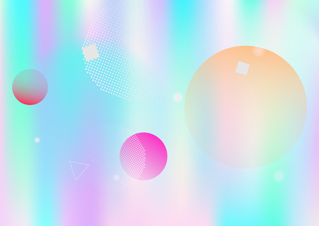 Holographic simple memphis vector background. Horizontal gradient hipster color overlay. Corporate identity geometric minimal holograph pattern. Falling chaotic dreamy memphis wallpaper.