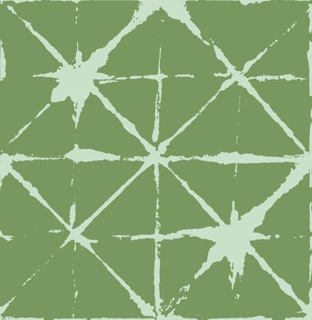 Japanese Kimono Vector Seamless Pattern, Artistic Tie Dye Geisha Ornament. Wabi Sabi Ikat Geo Pattern, Asian Kimono Fashion Watercolor Batik Design. Textured Shibori Geometric Seamless Summer Pattern