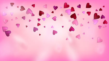 Falling Hearts Vector Confetti. Valentines Day Tender Pattern. Beautiful Pink Scatter Valentines Day Decoration with Falling Down Hearts Confetti. Modern Gift, Birthday Card, Poster Background Banque d'images - 117278783