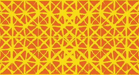 Artistic Tie Dye Geisha Ornament, Japanese Kimono Vector Seamless Pattern. Wabi Sabi Ikat Geo Texture, Asian Kimono Textile Watercolor Batik Design. Hand Painted Shibori Geometric Seamless Design