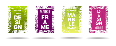 Marble Textured Frame.  Vector Funky Hipster Border for Text, Sale, Announcement. Marble Textured Cool Cover, Business Card, Music Poster Design Dynamic Futuristic Creative Liquid Paint Banner.
