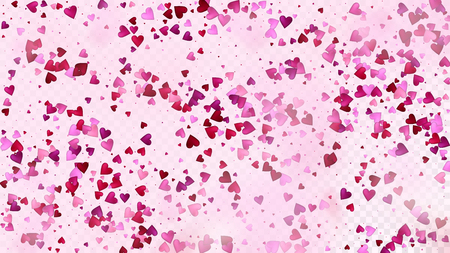 Falling Hearts Vector Confetti. Valentines Day Tender Pattern. Elegant Gift, Birthday Card, Poster Background Valentines Day Decoration with Falling Down Hearts Confetti. Beautiful Pink Border