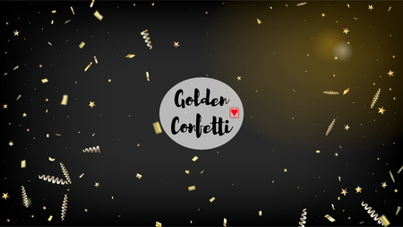 Modern Luxury Confetti, Isolated Stars, Tinsel Falling. Cool Glamour Christmas, New Year, Birthday Party Holiday Border. Horizontal Stars Bokeh Background. Luxury Confetti, Isolated Gold 向量圖像