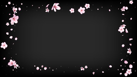Nice Sakura Blossom Isolated Vector. Spring Falling 3d Petals Wedding Paper. Japanese Beauty Spa Flowers Illustration. Valentine, Mother's Day Watercolor Nice Sakura Blossom Isolated on Black Imagens - 117279308