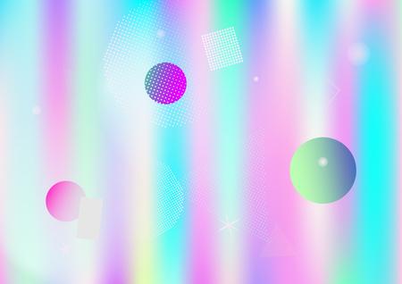 Memphis holographic simple vector background. Gradient fairy-tale horizontal color overlay. Geometric minimal corporate identity holograph pattern. Falling chaotic dreamy memphis wallpaper. Foto de archivo - 117279442