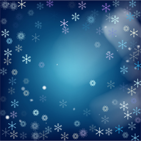 Realistic Snowfall Vector on Blue. Holidays Background, Christmas, New Year Sky. Realistic Snowfall Pattern, Falling Snowflakes Overlay. Christmas Dots, Storm, Frost Effect Magic Ice Square Frame.